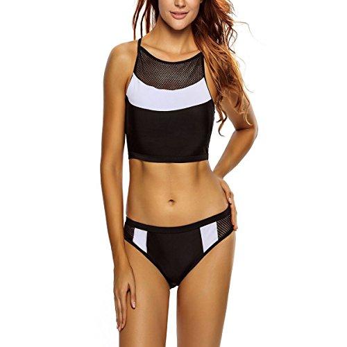 True Meaning Attractive Sexy Color Block Insert Black White 2pcs Tankini Swimsuit Swimwear