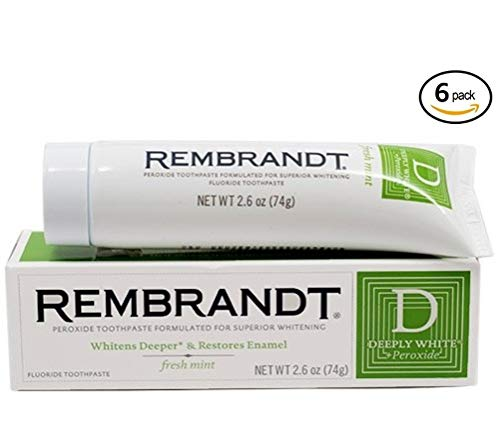 Rembrandt Deeply White + Peroxide Whitening Toothpaste 2.6 oz, 6 Pack, Fresh Mint Flavor