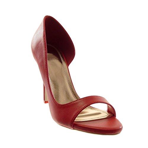 Moderno Angkorly 10 Donna Tacco Scarpe Sandali Rosso On Slip Alto Stiletto Moda Scarpe Stiletto Decollete cm Aperto 6vBPzr6q