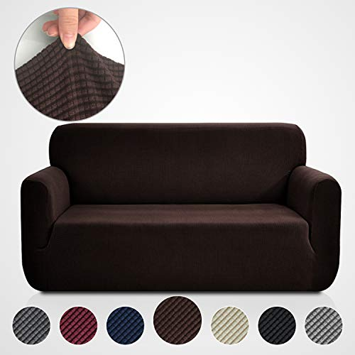 ipcover Brown, Stretch Couch Covers for 3 Cushion Couch-Couch Covers for Sofa-Sofa Covers for Living Room,Couch Covers for Dogs, Sofa Slipcover,Couch slipcover(Sofa: Chocolate) ()