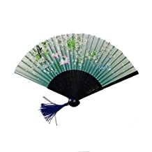 JAYYANG Chinese Style Butterfly Flowers Pattern Lace Bamboo Handheld Folding Fans for Girls Women Out Hand Folding Fans Outdoor Wedding Party Favor ZS-GREEN