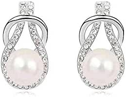 Silver Swarovski Elements Crystal Diamond Accent Pearl Round Circle Fashion Earrings Studs Drop Set for women teenage girls kids children, with a Gift Box, Ideal Gift for Birthdays / Christmas / Wedding