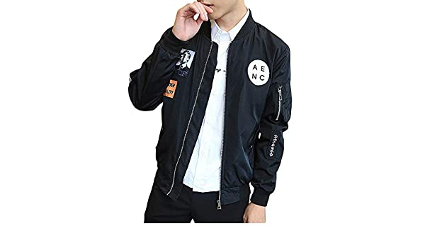 Amazon.com: WM & MW Mens Jacket Slim Fashion Patch Full Zipper Stand Collar Pilot Jacket Baseball Outwear Casual Coat(Black,M): Clothing