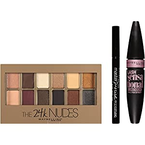 41qw3vpInlL. AA300  - Maybelline New York Ny Minute Mascara Smoky Eye Makeup Gift Set, 24k Smoky Eye