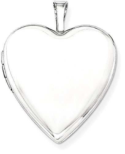 ICE CARATS 14k 20mm White Gold Plain Heart Photo Pendant Charm Locket Chain Necklace That Holds Pictures by ICE CARATS