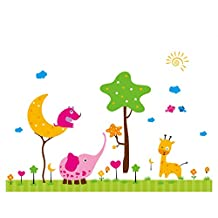 Kids Room Decoration Animal Giraffe Wall Sticker Moon Sun in the Sky Wall Decal Wall Sticker Wall Decor for Nursery