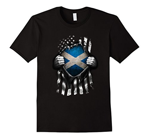 Mens Scottish American Flag T Shirt. Scotland National Flag Shirt Medium Black
