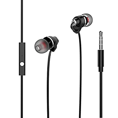 USTEK Headphones with Mic In Line Control Premium Earphones, Stereo Headphones In-ear Weird Earbuds with Ergonomic Design Black