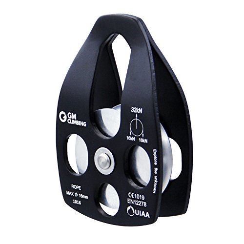 gm-climbing-32kn-large-rescue-pulley-single-double-sheave-with-swing-plate-black-single-pulley