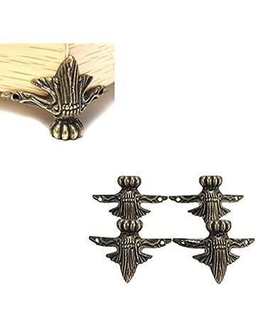 Hrph Joyería de latón regalo antiguo de la caja de la caja de madera Pies decorativos
