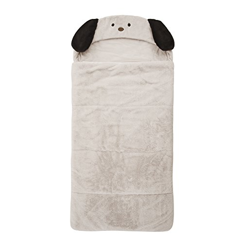 "Best Home Fashion Plush Faux Fur Hooded Dog Animal Sleeping Bag - Taupe - 27""W x 59""L - (1 Sleeping Bag)"