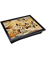 Lap Tray with Padded Cushion and Vintage W Kuhnert Fennec & Jerboa Design Print | Laptop Computer Work Station or Meal Table with Artistic Flair | Comfortable and Space Saving Desk Surface