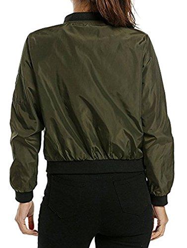 Verde Jacket Zipper Chaqueta Quilted Casual Mujer Moda BLACKMYTH Corto Classic Bomber FUfqWgv76