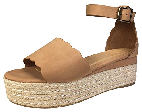 BAMBOO Women's Scallop Edged Single Band Espadrilles Platform Sandal with Ankle Strap, Camel Nubuck PU, 6.0 B (M) ()
