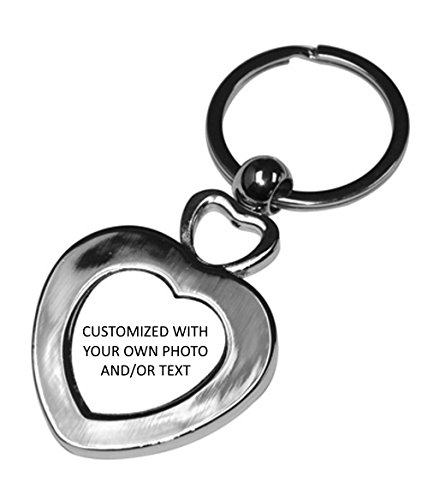 Valentine's Day Gift - Personalized with Your Own Photo And/or Text - Double Heart Stainless Key Chain - Includes Gift Box by PicsWorx