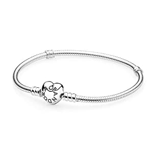 Pandora Moments Silver Bracelet With Heart Clasp in Sterling Silver, 590719