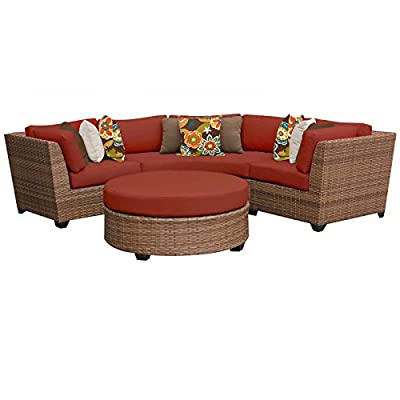 TK Classics 4 Piece Laguna Outdoor Wicker Patio Furniture Set, Terracotta 04a - Fabric Warranty - 1 year coverage against fading Thick cushions for a luxurious look and feel Cushion Covers - Washable and zippered for easy cleaning (air dry only) - patio-furniture, patio, conversation-sets - 41qw57HoQ6L. SS400  -