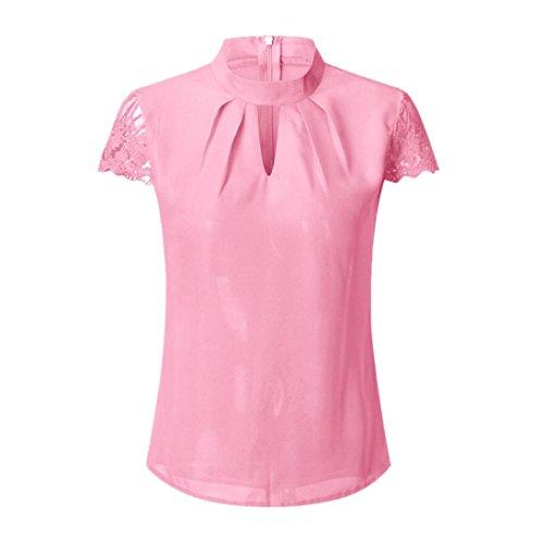 Camicie Elegante Casual in Manica Chiffon T Corta Pizzo Sexy Top Donna,MEIbax Rosa Solido Casual Shirt Camicetta Neck Elegante Cucitura da Magliette Donne O rp8xwqrd
