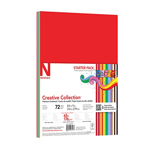 Colored Scrapbook Kit - Neenah Creative Collection Classics Specialty Cardstock Starter Kit, 8.5 X 11 Inches, 72 Count (46407-01)
