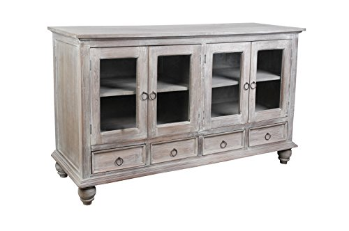 Sunset Trading CC-CAB1141S-LW Shabby Chic Cottage Gray Wash Sideboard, Glass Doors,