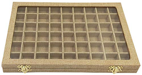 Funnuf 54 Grids Linen Jewelry Display Storage Box Tray Holder with Glass Lid for Ring Earrings, Yellow