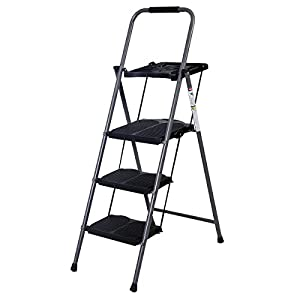 Giantex Hd 3 Step Ladder Platform Folding Stool Lightweight 330 LBS Capacity Space Saving w/Tray