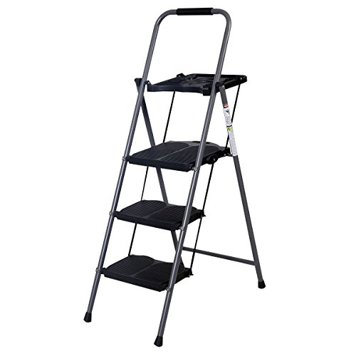 Giantex Hd 3 Step Ladder Platform Folding Stool Lightweight 330 LBS Capacity Space Saving w/ (Heavy Duty Platform Ladder)