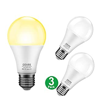Govee LED Dusk-to-Dawn Light Bulbs, 7W 600lm Smart Sensor Automatic Bulb with Auto on/Off, 30,000 Hour Lifetime, Indoor/Outdoor Lighting Lamp for Porch, Hallway, Garage (E26 Base, Soft White, 3 Pack)