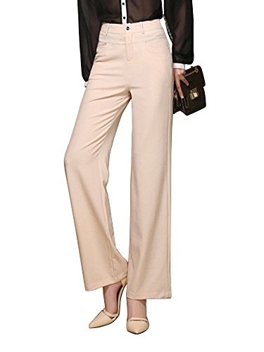 Gooket Women's High Waist Solid Color Casual Cotton Linen Loose Wide Leg Palazzo Pants Khaki Tag L-US 2