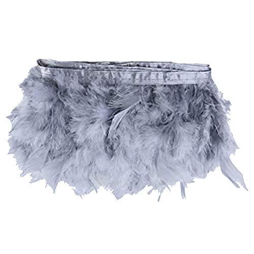 - AABAUY 5yards Turkey Feather Fringe Trim Plumes for Wedding Party Dress Decoration (Gray)
