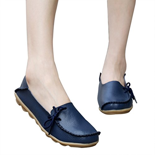Zon Lorence Vrouwen Casual Mode Lederen Instappers Plus Size Loafers Schoenen Donkerblauw