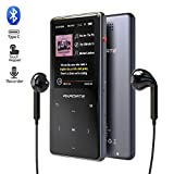 MP3 Player, 16GB Player with Bluetooth 4.2, Music Player with FM Radio, One Click Recording, 2.4' Screen, Built-in Speaker, HiFi Lossless Sound, Support up to 128GB(Earphone, Sport Armband)
