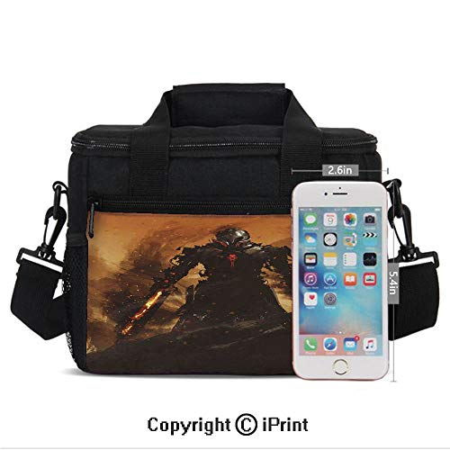 Insulated Lunch Bags For School With Bottle Holder Robot Warrior Terminator at War Fire Sword Weapon Paint Style Futuristic Kids Lunch Box Snacks Tote Lunch Containers 3D Print Tan and Black
