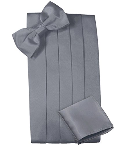Mens Satin Cummerbund Bowtie Hanky set, 4 Pleat, Large Variety of Solid Colors Available, by Platinum Hanger (Grey) (Silver Cummerbund)