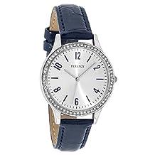 Ferenzi Women's | Fashion Rhinestone Silver Watch with Navy Blue Croc PU Strap | FZ17604