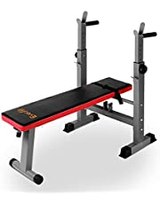 Everfit 250KG Capacity Weight Bench Multi-Station Flat Gym Workout Bench with Barbell Holder and Pull Up Bars Foldable - Red