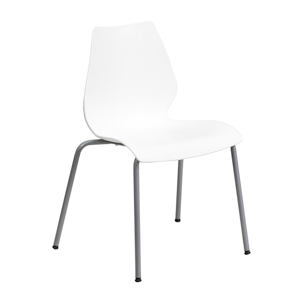 Offex Stack Chair Ergonomic Lumbar Support and Silver Frame - White