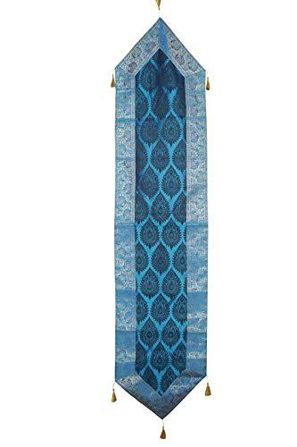 Mogul Interior Indian Hand Art Blue Varanasi Silk Sari Table Runner Bedroom Decor 70