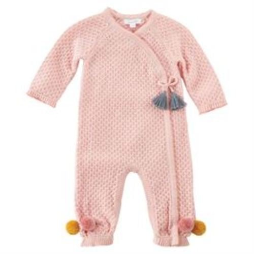 Mud Pie Styles (Mud Pie Baby Girl's Pointelle Kimono Tassel One-Piece Playwear (Infant) Pink 0-3 Months)