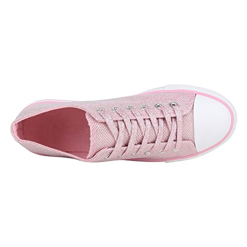 Unisex Damen Herren Schuhe Sneakers Turnschuhe Freizeitschuhe Low Sneaker Übergrößen Prints Glitzer Denim Flandell Rosa Glitzer