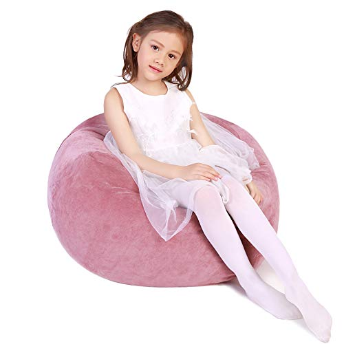 Stuffed Animal Storage Bean Bag Chair, Bean Bag Cover for Organizing Kid's Room - Fits a Lot of Stuffed Animals, Large/Pink (Best Place To Get Stuffed Animals)
