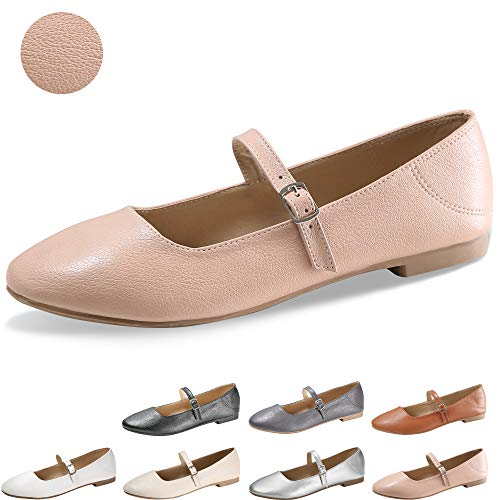 - CINAK Flats Mary Jane Shoes Women's Casual Comfortable Walking Buckle Ankle Strap Fashion Slip On(9-9.5 B(M) US/ CN41 / 10'', Pink)