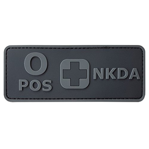 LEGEEON OPOS Blood Type NKDA ACU Subdued Tactical No Drugs Allergies PVC Rubber 3D Fastener Patch