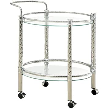 Furniture of America Teyana Mobile Kitchen Cart - Chrome