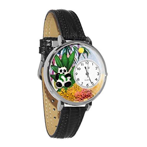 Whimsical Watches Unisex U0150017 Panda Bear Black Skin Leather Watch