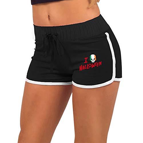 Womens Stretchy Low Waist Hot Pants I Love Halloween Skull Irish Flag Dance Hot Pants Black]()