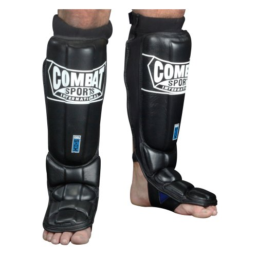 Shin Gel Guard - Combat Sports Gel Shock Pro-Style Grappling Shin Guards, Large, Black