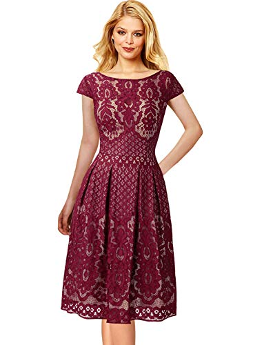 Pleated Bateau Neck - VFSHOW Womens Boat Neck Floral Lace Pockets Pleated Cocktail Party A-Line Dress 1623 RED M