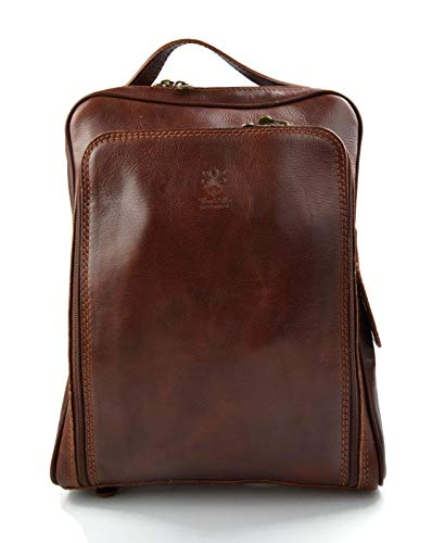 Backpack genuine leather travel bag weekender sports bag gym bag leather shoulder ladies mens bag satchel original made in Italy brown