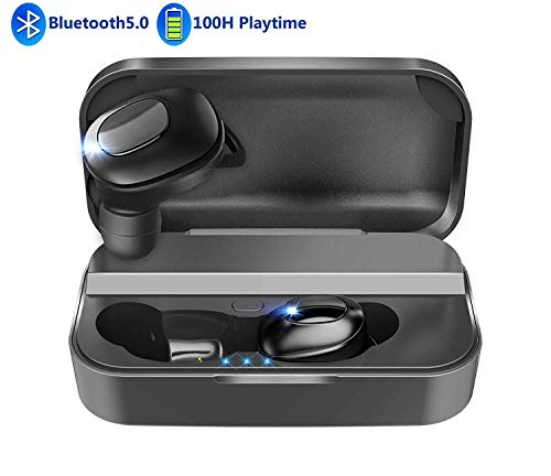 True Wireless Earbuds Bluetooth 5.0 Headphone Waterproof 100H Playtime 3D Stereo Sound with Deep Bass Noise Cancelling Wireless Earphones Built-in Dual Microphones 2600mAh Charging Case